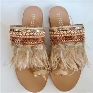 Barneys New York Tan Marabou Feather Sandal SZ 6